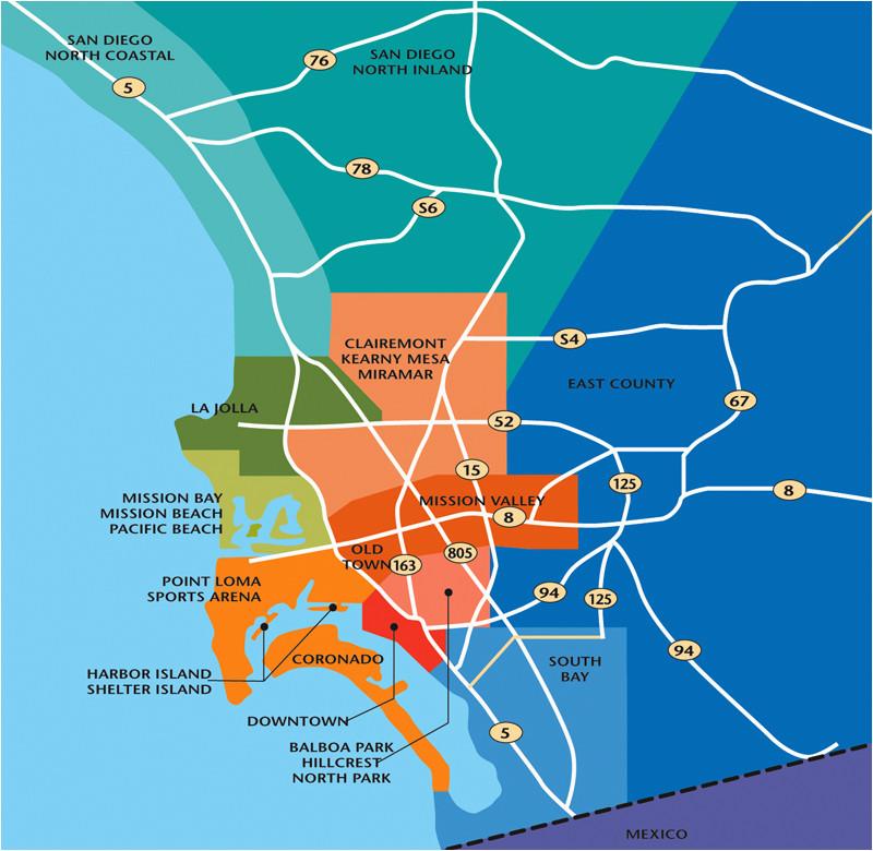 Onde ficar em San Diego: mapa