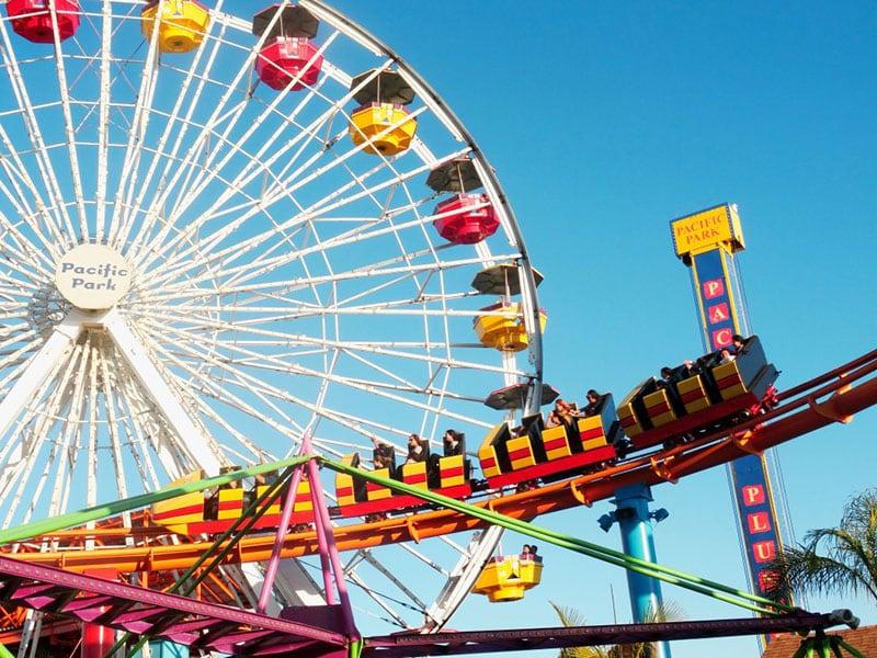 Parque Pacific Park em Santa Monica na Califórnia: roda-gigante