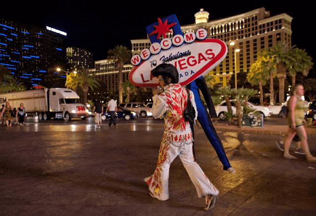 Artistas no centro de Las Vegas