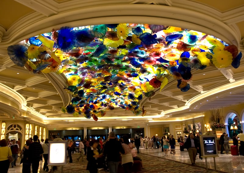 Teto do hall do Hotel Bellagio em Las Vegas