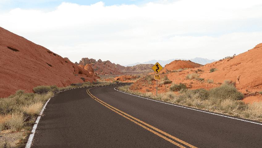 Chegando pela estrada em Las Vegas