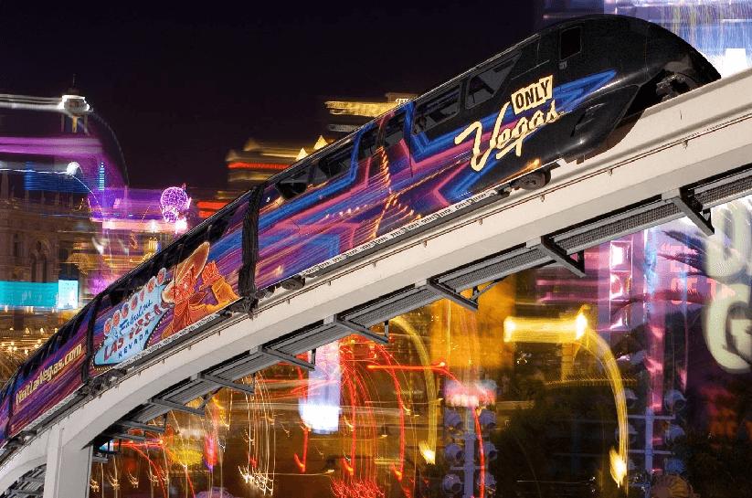 Bondes e monotrilho em Las Vegas