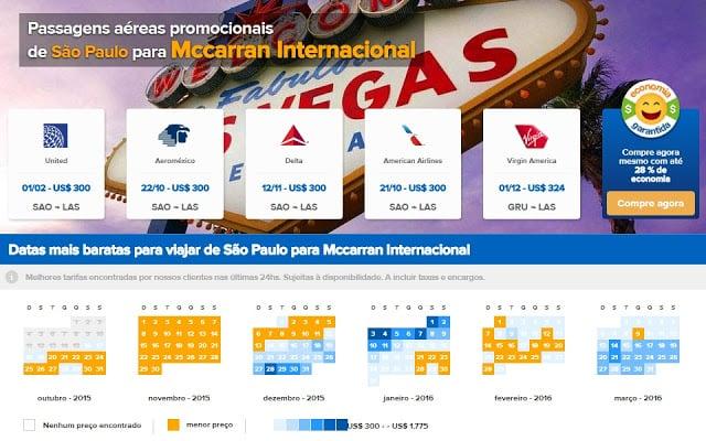 Compare preços de voos para Las Vegas