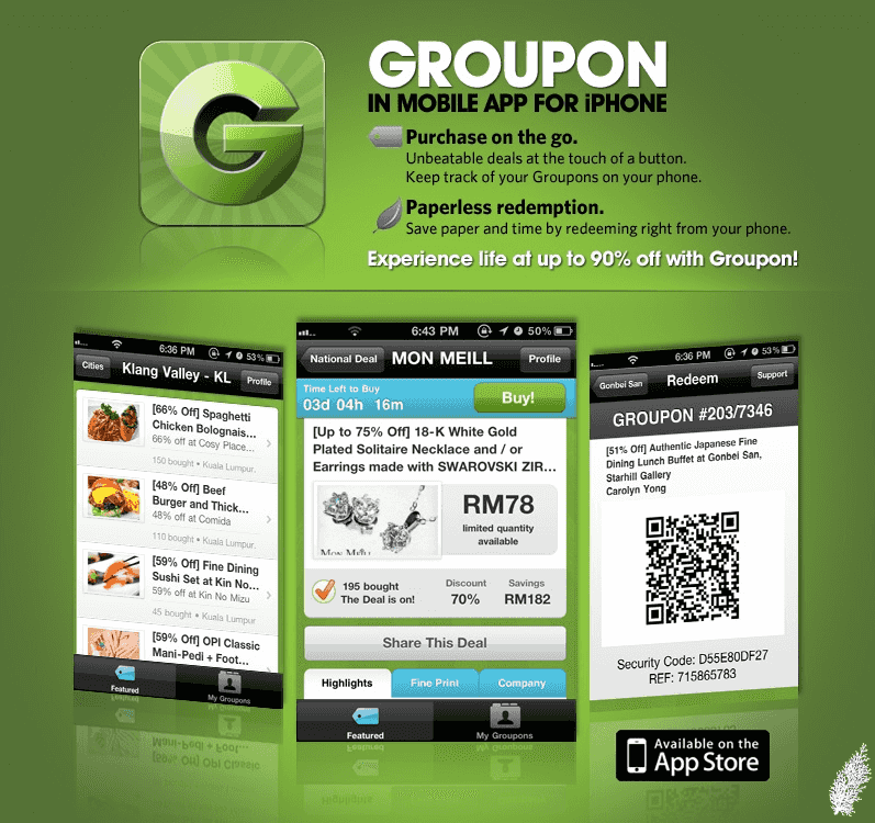 App de desconto Groupon em Las Vegas